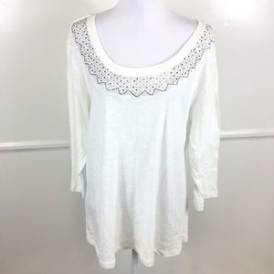 NEW Avenue Ivory Embellished Top Womens 18/20
